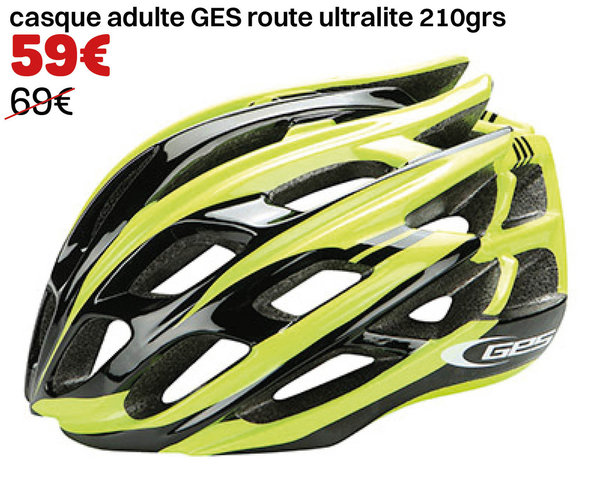 casque adulte GES route ultralite 210grs jaune