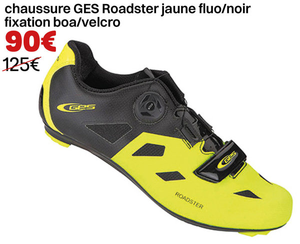 chaussure GES Roadster  jaune fluo/noir  fixation boa