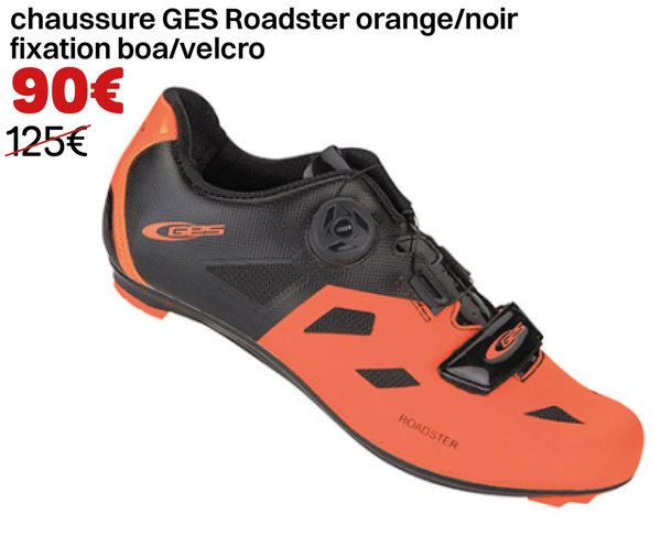 chaussure GES Roadster  orange/noir  fixation boa/velcro