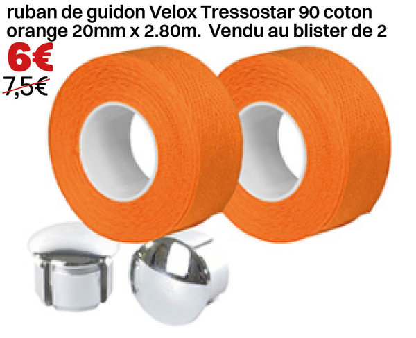 ruban de guidon Velox Tressostar 90 coton orange 20mm x 2.80m. Vendu au blister de 2