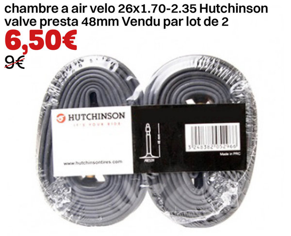 chambre air 26x1.7 a2.35 Hutchinson valve presta 48mm Vendu par lot de 2