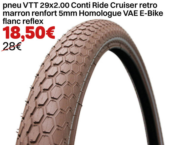 pneu VTT 29x2.00 Conti Ride Cruiser retro marron renfort 5mm Homologue VAE E-Bike flanc reflex