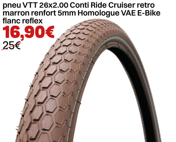 pneu VTT 26x2.00 Conti Ride Cruiser retro marron renfort 5mm Homologue VAE E-Bike flanc reflex