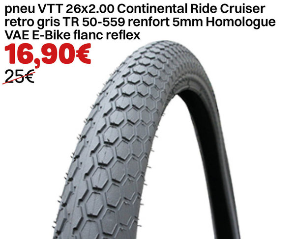 pneu VTT 26x2.00 Continental Ride Cruiser retro gris TR 50-559 renfort 5mm Homologue VAE E-Bike flan