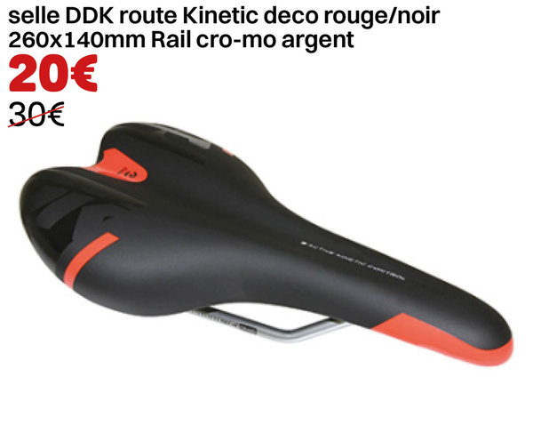 selle DDK route Kinetic deco rouge/noir 260x140mm Rail cro-mo argent