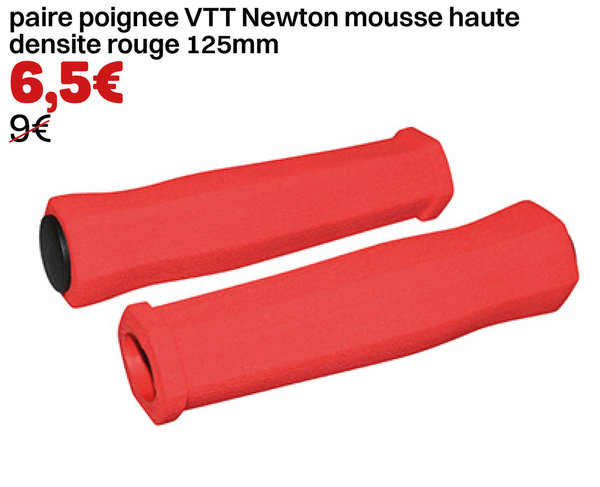 paire poignee VTT Newton mousse haute densite rouge 125mm