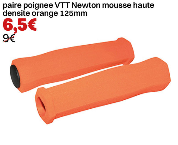 paire poignee VTT Newton mousse haute densite orange 125mm