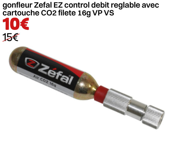 gonfleur Zefal EZ control debit reglable avec cartouche CO2 filete 16g VP VS