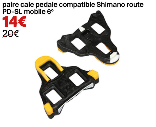 paire cale pedale compatible Shimano route PD-SL mobile 6°