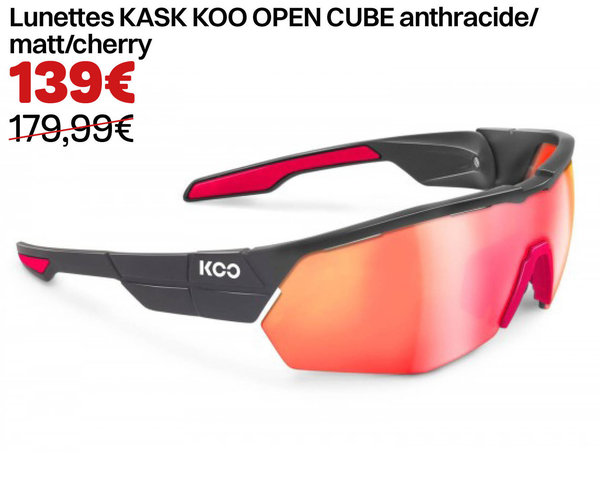 Lunettes KASK KOO OPEN CUBE anthracide/matt/cherry