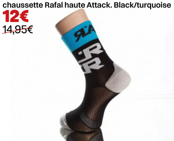 chaussette Rafal haute Attack. Black/turquoise