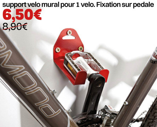 support velo mural pour 1 velo. Fixation sur pedale