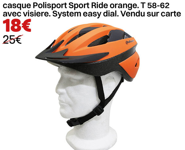 casque Polisport Sport Ride orange. T 58-62 avec visiere. System easy dial.